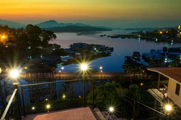 beautiful scenic of sangkhlaburi one of most popular traveling destination in kanchanaburi western of thailand