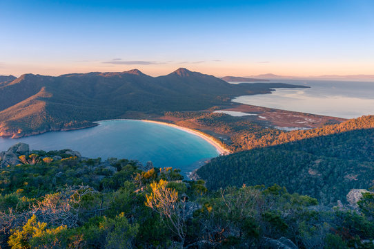 Sunrise nature landscape of beautiful bay and mountains. Wineglass bay Tasmania