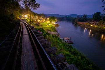beautiful scenic of death railway in kanchanaburi western of thailand