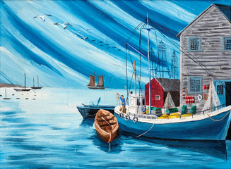 Folk style painting of typical fisherman boats and shacks in a harbor.