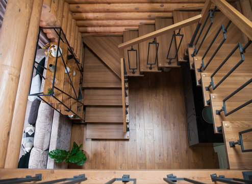 Interior of wooden house - stairs to the second floor