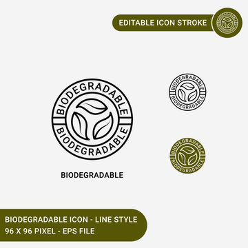 Biodegradable  icons set vector illustration with icon line style. Bio plastic concept. Editable stroke icon on isolated white background for web design, user interface,  and mobile application