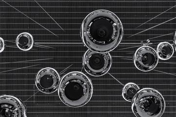 GDYNIA, POMERANIA REGION / POLAND - 2018: Mirrored balls in the RIVIERA shopping center - Modern architecture in a public building interior