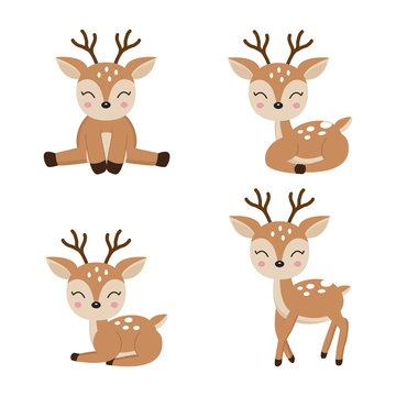 Cute deer cartoon in different poses.