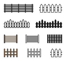 Fence Icon Set Vector Illustration. Flat Fence Icon Sign