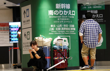 A woman with luggage looks at her phone near the entrance to the Shinkansen bullet train platform, which has temporarily suspended service due to Typhoon Hagibis, at Tokyo Station