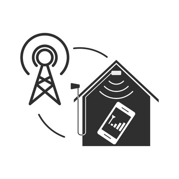 Mobile signal booster illustration. Flat style.