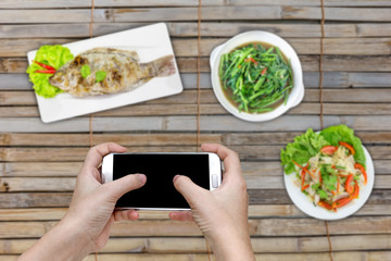 Food photography on dining table