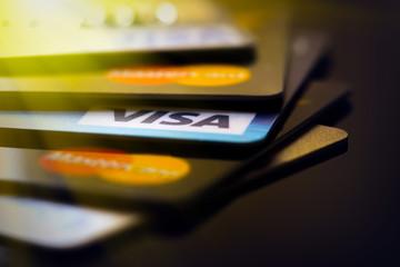 Plastic cards VISA and  Mastercard