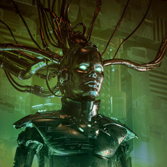 The carbon queen / 3D illustration of sinister science fiction female android artificial intelligence