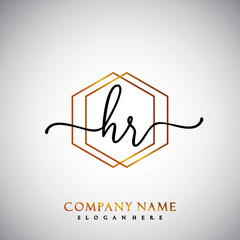 HR Initial Handwriting logo template vector