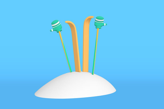 3D rendering Yellow skis and ski poles stick out from a snowdrift. Mittens or gloves are put on ski poles.
