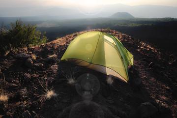 Backlight Tent On Slope Of Etna Mount, Sicily