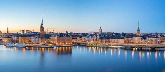 Wall Mural - Panorama view of Stockholm Gamla Stan skyline at night in Stockholm city, Sweden