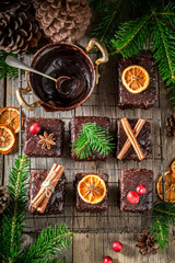 Zelfklevend Fotobehang Eten Tasty and homemade Gingerbread cubes for Christmas with chocolate glaze