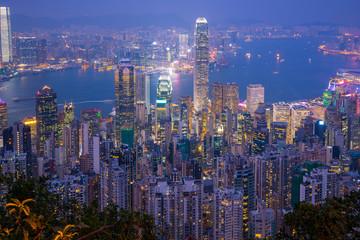 Wall Mural - Hong Kong city skyline with landmark buildings at night in Hong Kong