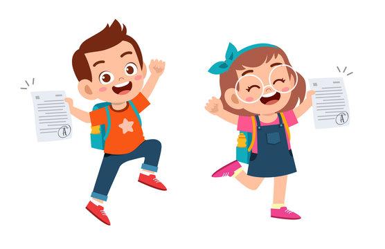 happy cute kids have good exam mark
