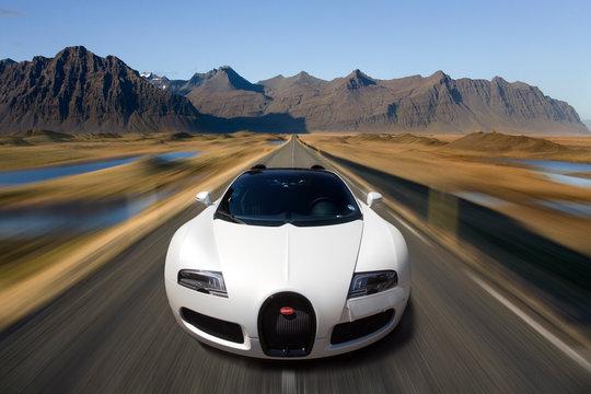 Bugatti Veyron at speed