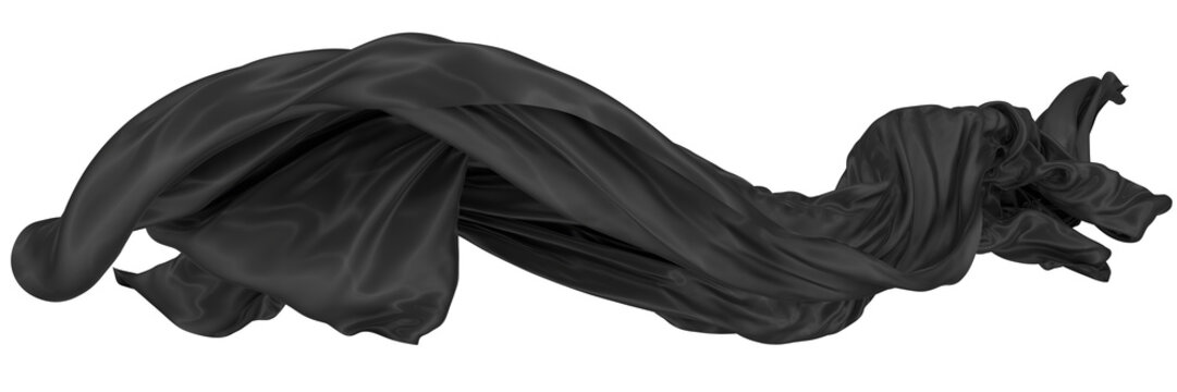Abstract background of black wavy silk or satin. 3d rendering image.