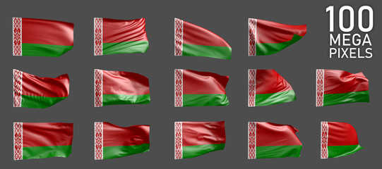 a lot of various images of Belarus flag isolated on grey background - 3D illustration of object