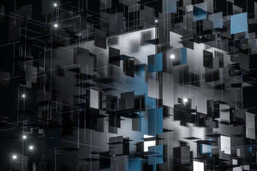 A three-dimensional space composed of square planes, 3d rendering. Wall mural
