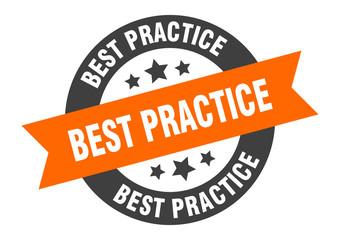 best practice sign. best practice orange-black round ribbon sticker