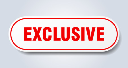 exclusive sign. exclusive rounded red sticker. exclusive