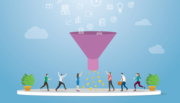 marketing sales funnel with profit result oriented concept with modern flat style - vector