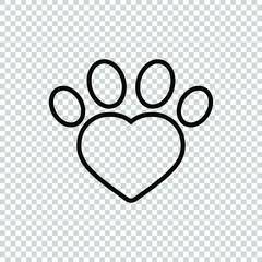 line animal footprint icon isolated on transparent background