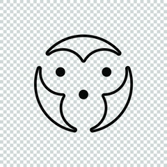 circle line monkey face icon isolated on transparent background