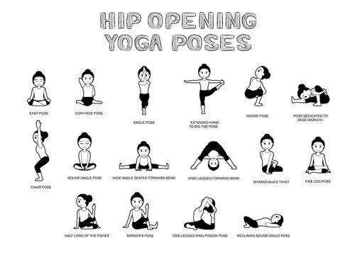 Hip Opening Yoga Poses Vector Illustration Black and White
