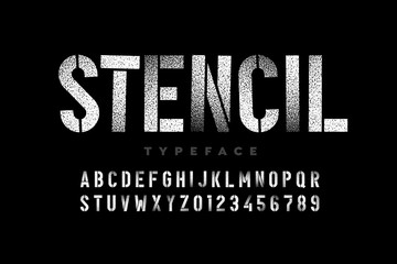 Spray paint sctencil style font, alphabet letters and numbers