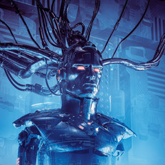 The data sentinel / 3D illustration of sinister science fiction male android artificial intelligence