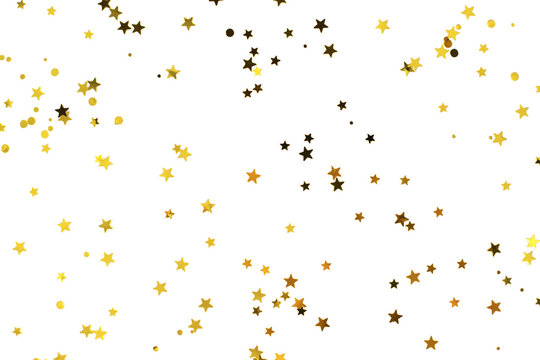 Bunch of gold stars on white background. Festive concept.