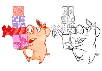 In de dag Babykamer Vector Illustration of a Cute Cartoon Character Pig for you Design and Computer Game. Coloring Book Outline Set