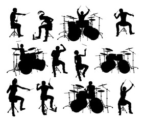Drummer and drum kit musician high quality detailed silhouettes