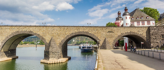 Fotorolgordijn Bruggen Panorama of the historic Balduinbrucke bridge over the river Mosel in Koblenz, Germany