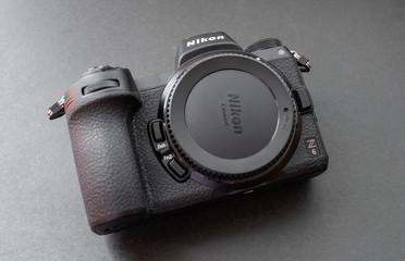 VLADIVOSTOK, RUSSIA - NOVEMBER 30, 2018: Studio shot of brand new Nikon Z6 mirrorless camera on dark background.