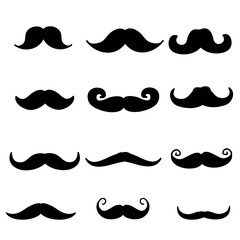 doodle Moustache icon illustration vector collection