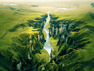 Rugged Landscape of Fjadrargljufur Canyon in Iceland. Aerial shot.