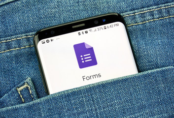 Google Forms on a phone screen in a pocket