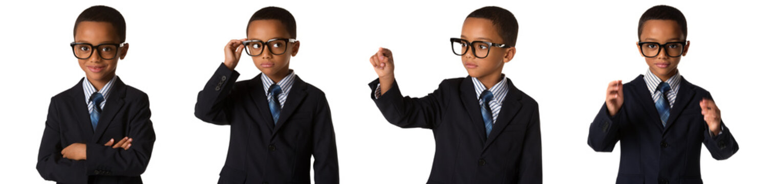 childhood and people concept- set of elegant little boy with glasses in business suit. Isolated