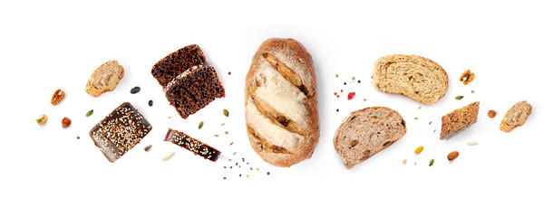 Foto op Plexiglas Bakkerij Creative layout made of breads on white background. Flat lay. Food concept.