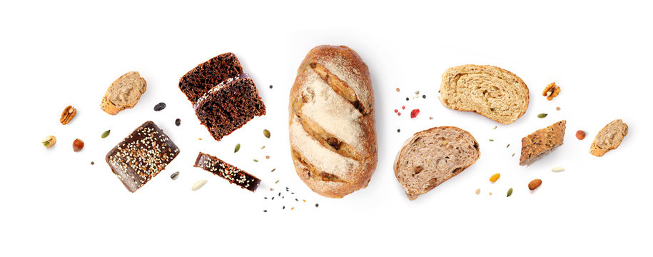 Creative layout made of breads on white background. Flat lay. Food concept.