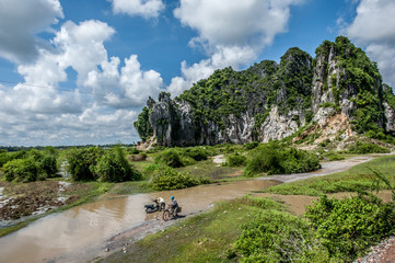 Landscape with limestone mountains in Kampong Trach, Cambodia