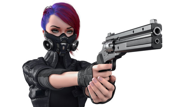 3d render of cyberpunk girl with short hair wearing futuristic gas mask with filters protection from air pollution in stylish leather jacket holding gun isolated on white background. Cyberpunk Shooter