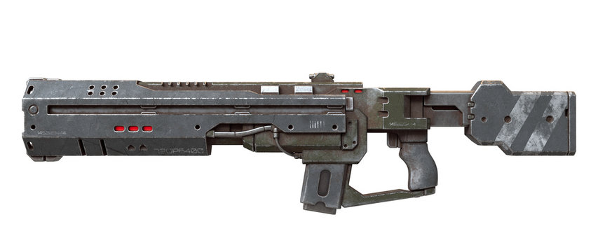 3d illustration of sci-fi futuristic weapon isolated on white background. Science fiction military laser gun. Concept design of high-tech assault rifle with green gray color scratched metal. Side view