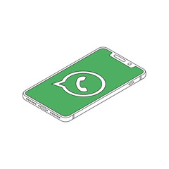 whatsapp logo on iphone X display isometric outline vector illustration