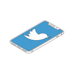Twitter logo on iphone X display isometric outline vector illustration