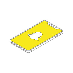 Snapchat logo on iphone X display isometric outline vector illustration